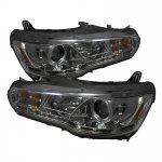 2009 Mitsubishi Lancer Smoked Halo Projector Headlights with LED