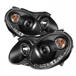 Mercedes Benz CLK 2003-2009 Black Halo Projector Headlights with LED DRL