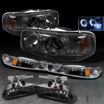 2000 GMC Sierra Smoked Headlights Set and Fog Lights