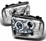 2005 Ford F350 Super Duty Clear CCFL Halo Projector Headlights with LED