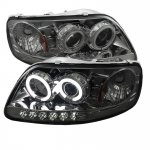 1999 Ford F150 Smoked CCFL Halo Projector Headlights with LED