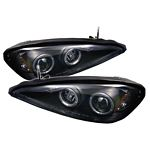 2003 Pontiac Grand AM Black Dual Halo Projector Headlights with LED