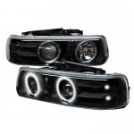 Chevy Suburban 2000-2006 Black CCFL Halo Projector Headlights with LED