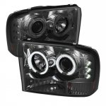 Ford F250 Super Duty 1999-2004 Smoked CCFL Halo Projector Headlights with LED