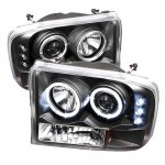 2002 Ford F250 Super Duty Black Dual Halo Projector Headlights with LED