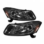 2011 Honda Accord Sedan Smoked Halo Projector Headlights with LED DRL