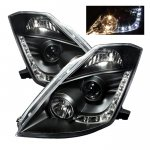 Nissan 350Z 2003-2005 Black Projector Headlights with LED DRL