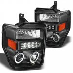 2010 Ford F450 Super Duty Black Projector Headlights Halo LED