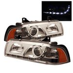 BMW E36 Sedan 1992-1998 Clear Projector Headlights with LED Daytime Running Lights
