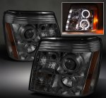 2005 Cadillac Escalade Smoked Halo Projector Headlights with LED