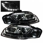 Audi A4 2006-2008 Smoked Projector Headlights with LED Daytime Running Lights