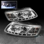 Audi A6 2005-2008 Clear Projector Headlights with LED Daytime Running Lights