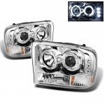 2002 Ford F250 Super Duty Clear Dual Halo Projector Headlights with LED