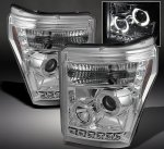 Ford F250 Super Duty 2011-2016 Clear Halo Projector Headlights with LED DRL