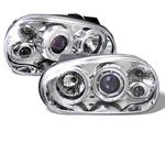 VW Golf 1999-2005 Clear Dual Halo Projector Headlights