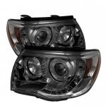 Toyota Tacoma 2005-2011 Smoked Dual Halo Projector Headlights LED DRL