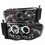 2002 Dodge Ram Smoked CCFL Halo Projector Headlights with LED