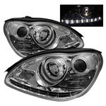 2005 Mercedes Benz S Class Clear Projector Headlights with LED Daytime Running Lights