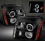 2005 Cadillac Escalade Black Halo Projector Headlights with LED
