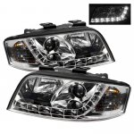 2002 Audi A6 Clear Projector Headlights with LED Daytime Running Lights