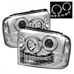 2005 Ford F350 Super Duty Clear Halo Projector Headlights with LED