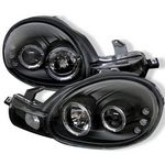 Dodge Neon 2000-2002 Black Dual Halo Projector Headlights with Integrated LED