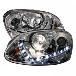 VW Rabbit 2006-2009 Clear Projector Headlights with LED Daytime Running Lights
