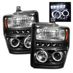 2008 Ford F250 Super Duty Black Dual Halo Projector Headlights with LED