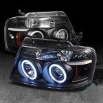 2004 Ford F150 Black Dual CCFL Halo Projector Headlights with LED