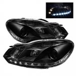 VW Golf GTI 2010-2012  Black Projector Headlights with LED Daytime Running Lights
