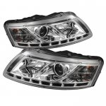 2006 Audi A6 Clear Projector Headlights with LED Daytime Running Lights