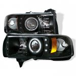 1997 Dodge Ram Black CCFL Halo Projector Headlights with LED