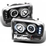 2002 Ford F250 Super Duty Black CCFL Halo Projector Headlights with LED