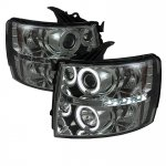 2007 Chevy Silverado Smoked CCFL Halo Projector Headlights with LED