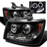 2009 Chevy Avalanche Black Halo Projector Headlights with LED