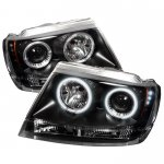 2004 Jeep Grand Cherokee Black CCFL Halo Projector Headlights with LED