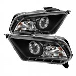 2010 Ford Mustang Black Halo Projector Headlights with LED