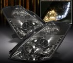 Nissan 350Z 2003-2005 Smoked HID Projector Headlights with LED DRL
