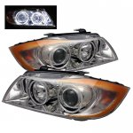 BMW 3 Series Sedan 2006-2008 Clear CCFL Halo Projector Headlights