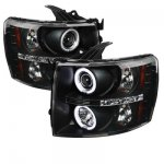 Chevy Silverado 3500HD 2007-2014 Black CCFL Halo Projector Headlights with LED