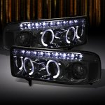 2000 Dodge Ram Smoked Halo Projector Headlights with LED DRL