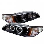 1994 Ford Mustang Black Dual CCFL Halo Projector Headlights with LED