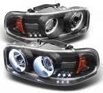 2000 GMC Sierra Black CCFL Halo Projector Headlights with LED