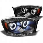 2008 Dodge Ram Black CCFL Halo Projector Headlights with LED