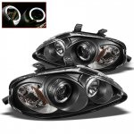 Honda Civic 1999-2000 Black Dual Halo Projector Headlights