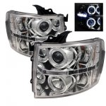 2007 Chevy Silverado 2500HD Clear Dual Halo Projector Headlights with LED