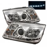VW Jetta 1999-2005 Clear Halo Projector Headlights with LED Daytime Running Lights