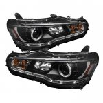 Mitsubishi Lancer 2008-2012 Black Halo Projector Headlights with LED