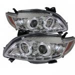 2009 Toyota Corolla Clear Halo Projector Headlights with LED Daytime Running Lights