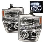 2008 Ford F250 Super Duty Clear Dual Halo Projector Headlights with LED